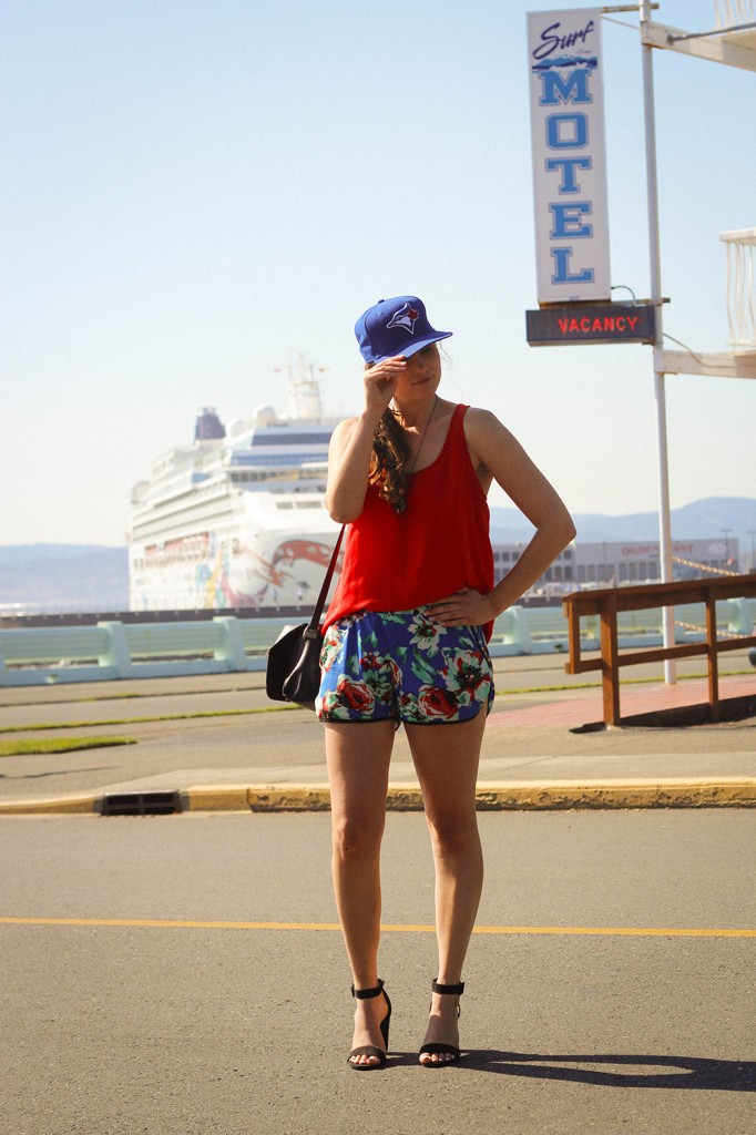 wearing zara heels forever 21 top and shorts suzy shier necklace blue jays baseball hat